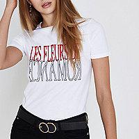 White 'les fleurs' flock print fitted T-shirt