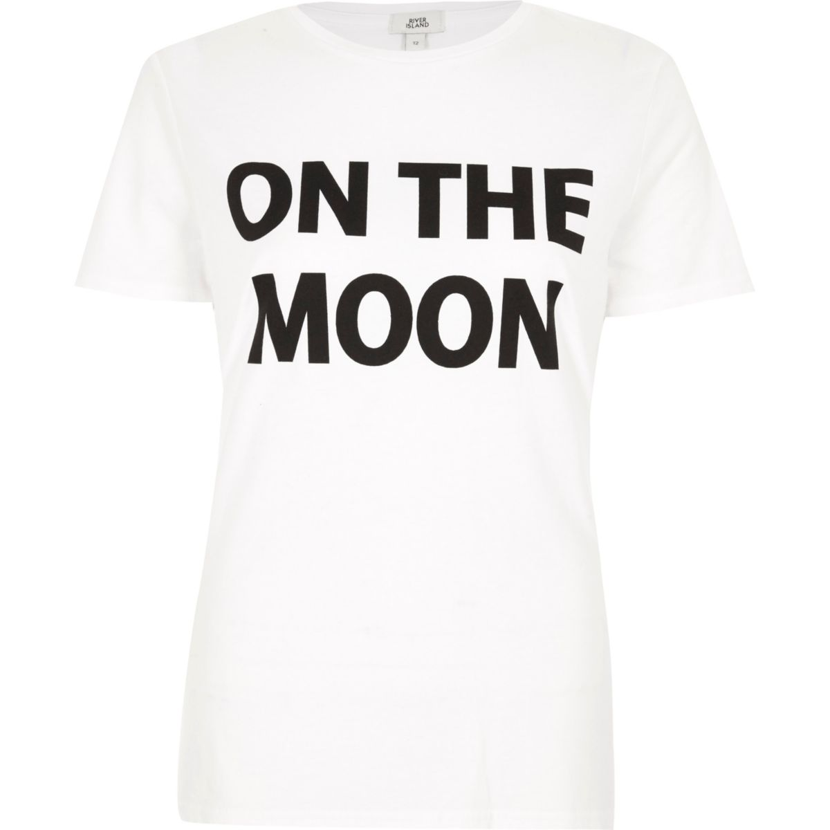 White 'on the moon' print fitted T-shirt