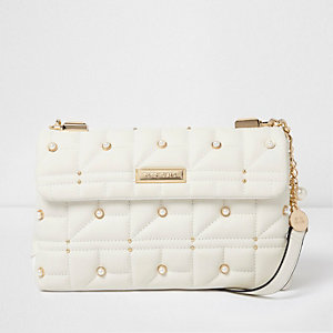 White quilted faux pearl embellished bag