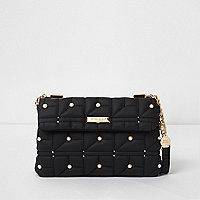 Black quilted faux pearl embellished bag