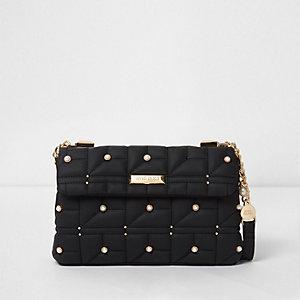 Zwarte gewatteerde verfraaide tas met imitatiepareltjes