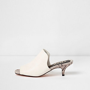 White snake embossed kitten heel mules