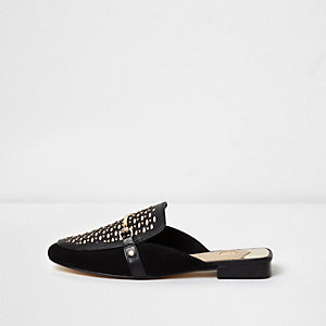 Black lace cut out snaffle backless loafers