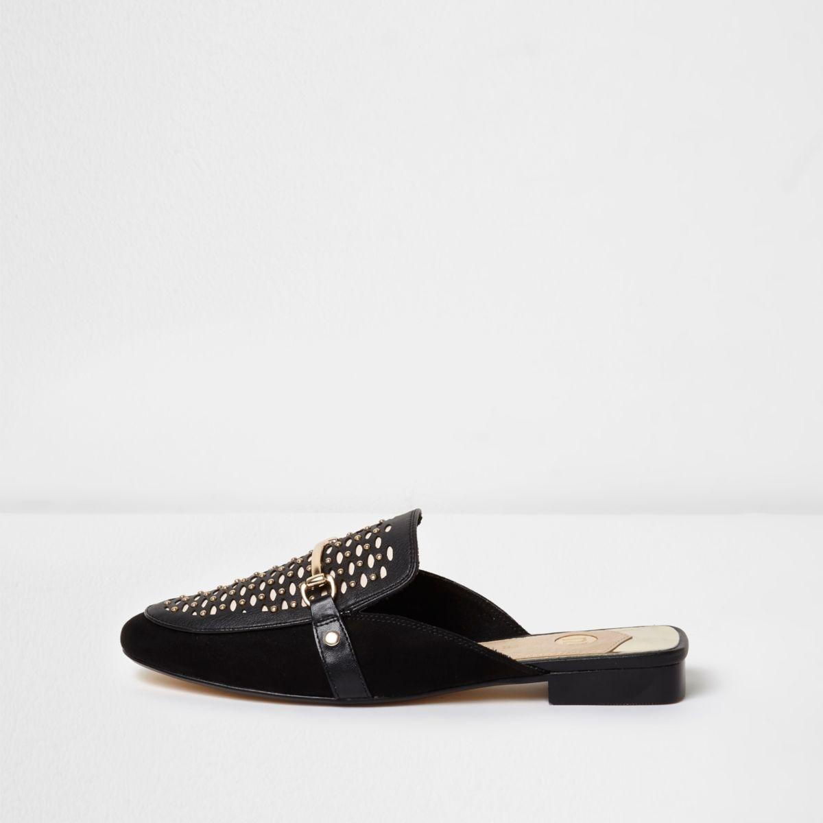 Zwarte kanten loafers met uitsneden zonder achterkant