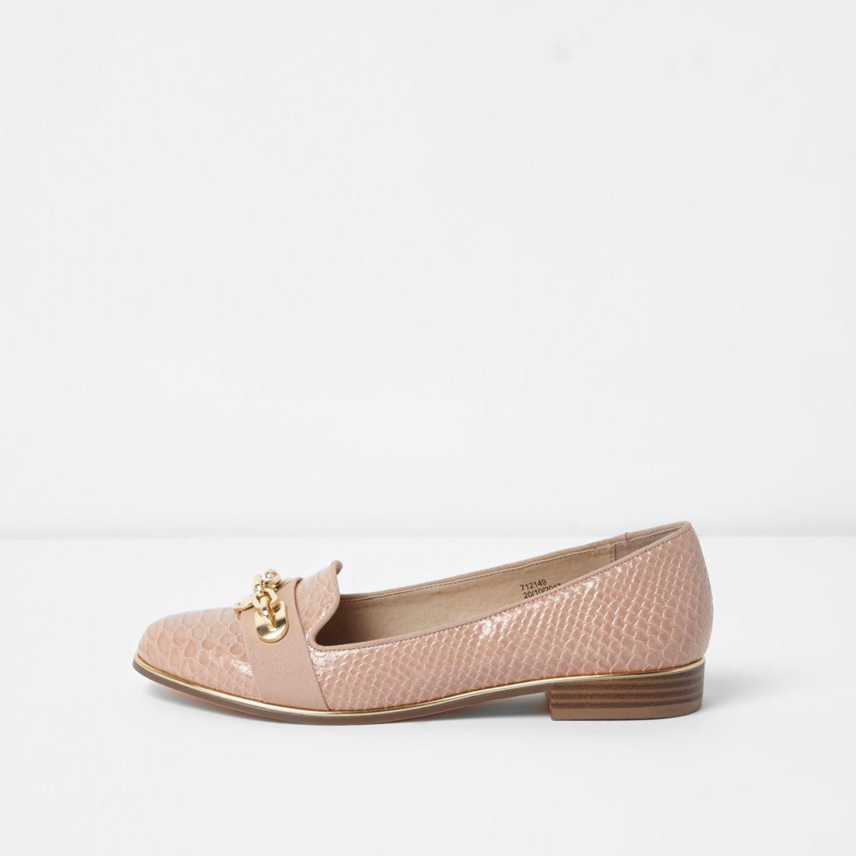 Light pink chain snake embossed slippers