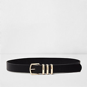Black faux leather and gold tone belt