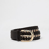 Black and gold tone plaited buckle belt