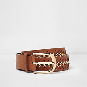 Tan and gold tone plaited buckle belt