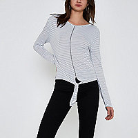 White stripe print tie front long sleeve top
