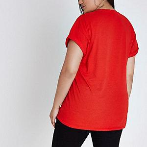 RI Plus - Rood boyfriend T-shirt met 'amour' 3d- en bloemenprint