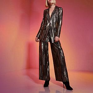 RI Studio – Pantalon large doré métallisé
