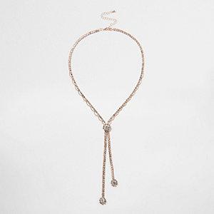 Y-Halskette mit Ziersteinchen in Roségold