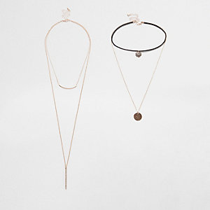 Gold tone diamante circle layer choker set