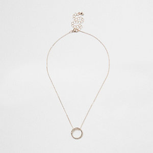 Rose gold tone rhinestone pave circle necklace