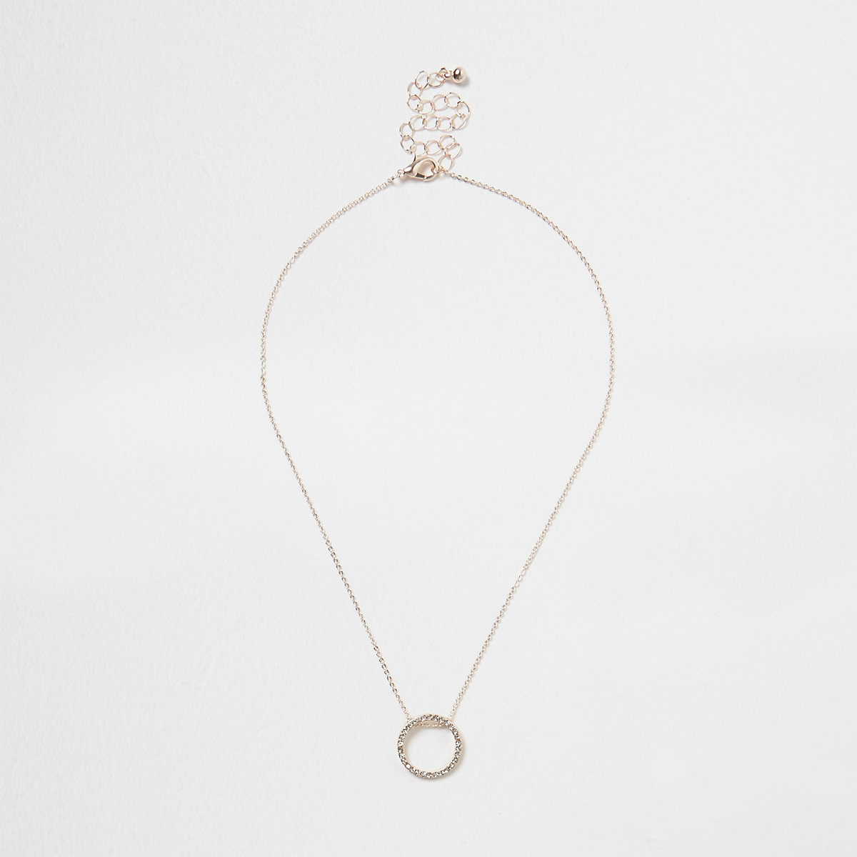 Rose gold tone diamante pave circle necklace