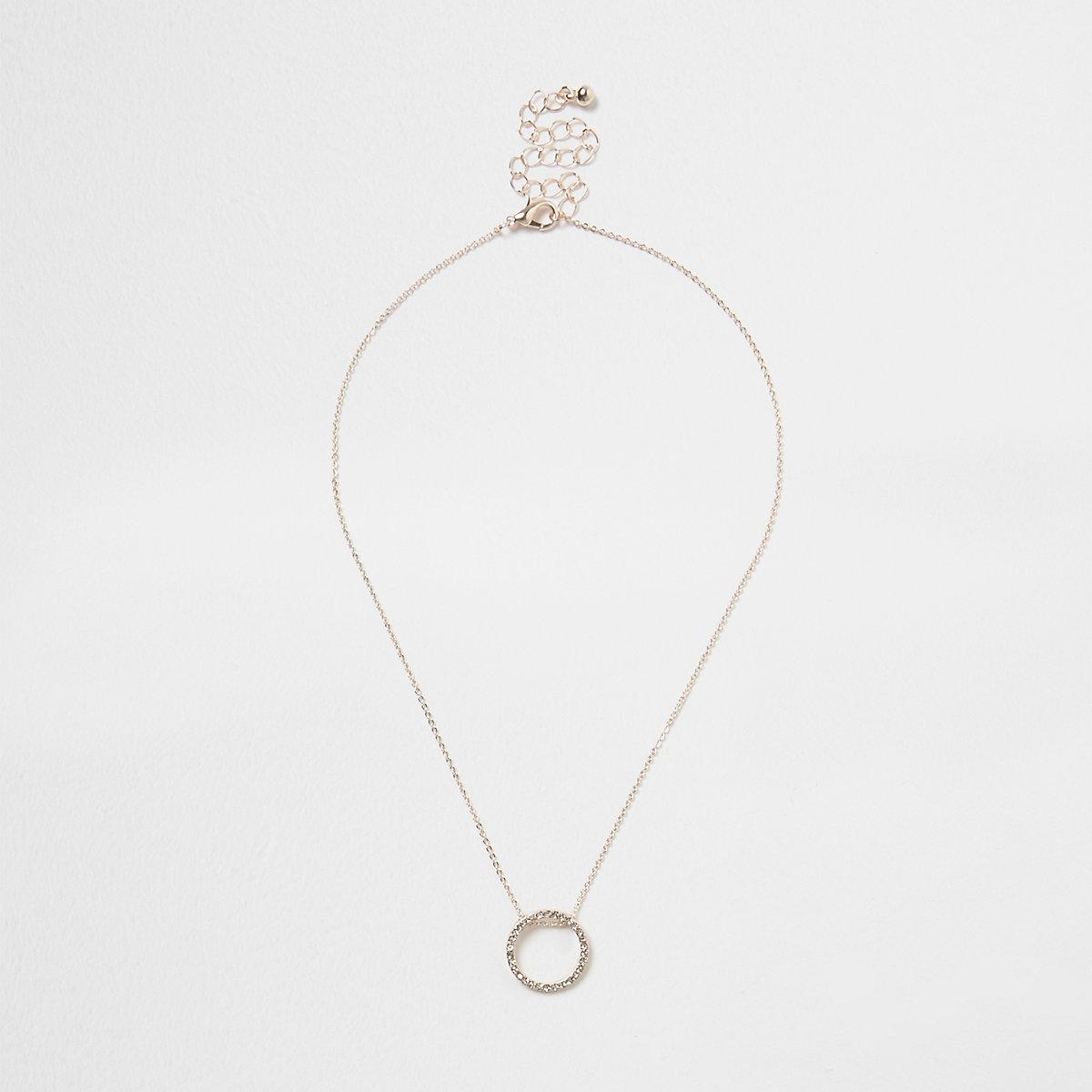 Rose gold tone rhinestone pave circle necklace