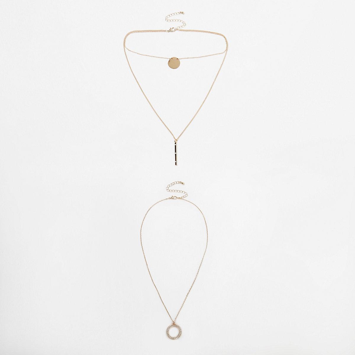 Gold tone disk pave multilayer necklace set