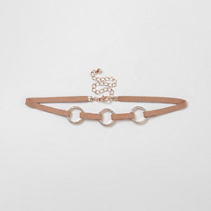 Nude triple diamante pave circle choker