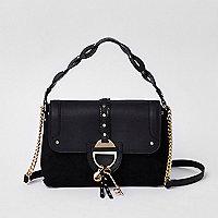 Black key charm tab crossbody tote bag