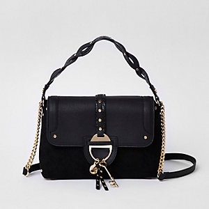 Black key charm tab crossbody tote bag