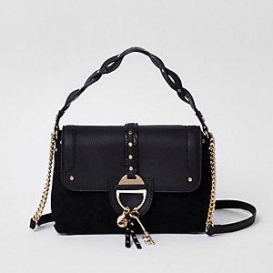 Schwarze Tote Bag zum Umhängen mit Schlüsselanhänger