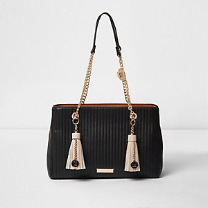 Black double tassel chain tote bag