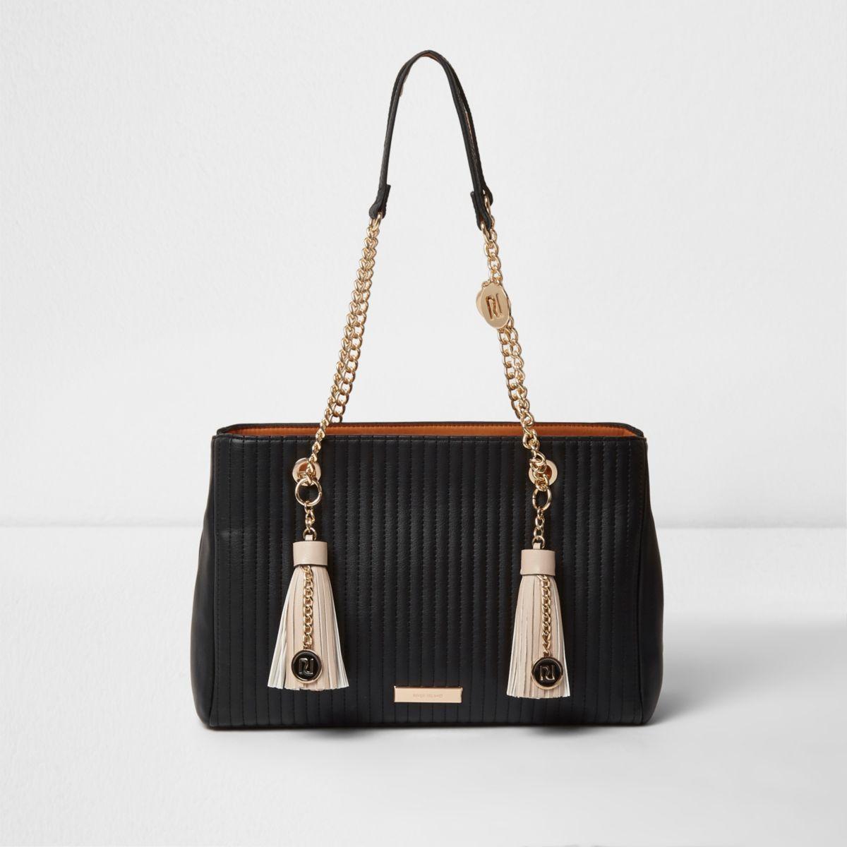 Black double tassel chain tote bag
