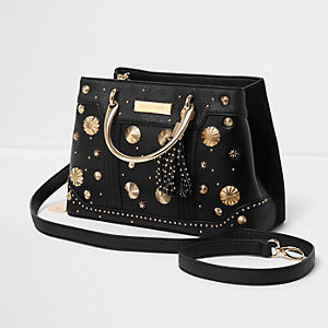 Black studded metal handle tote bag