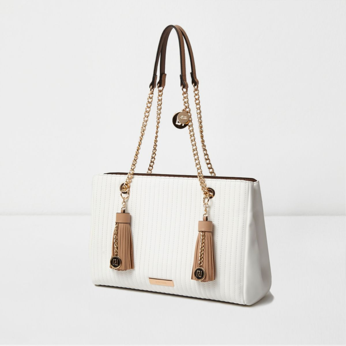 White quilted front chain handle tote bag