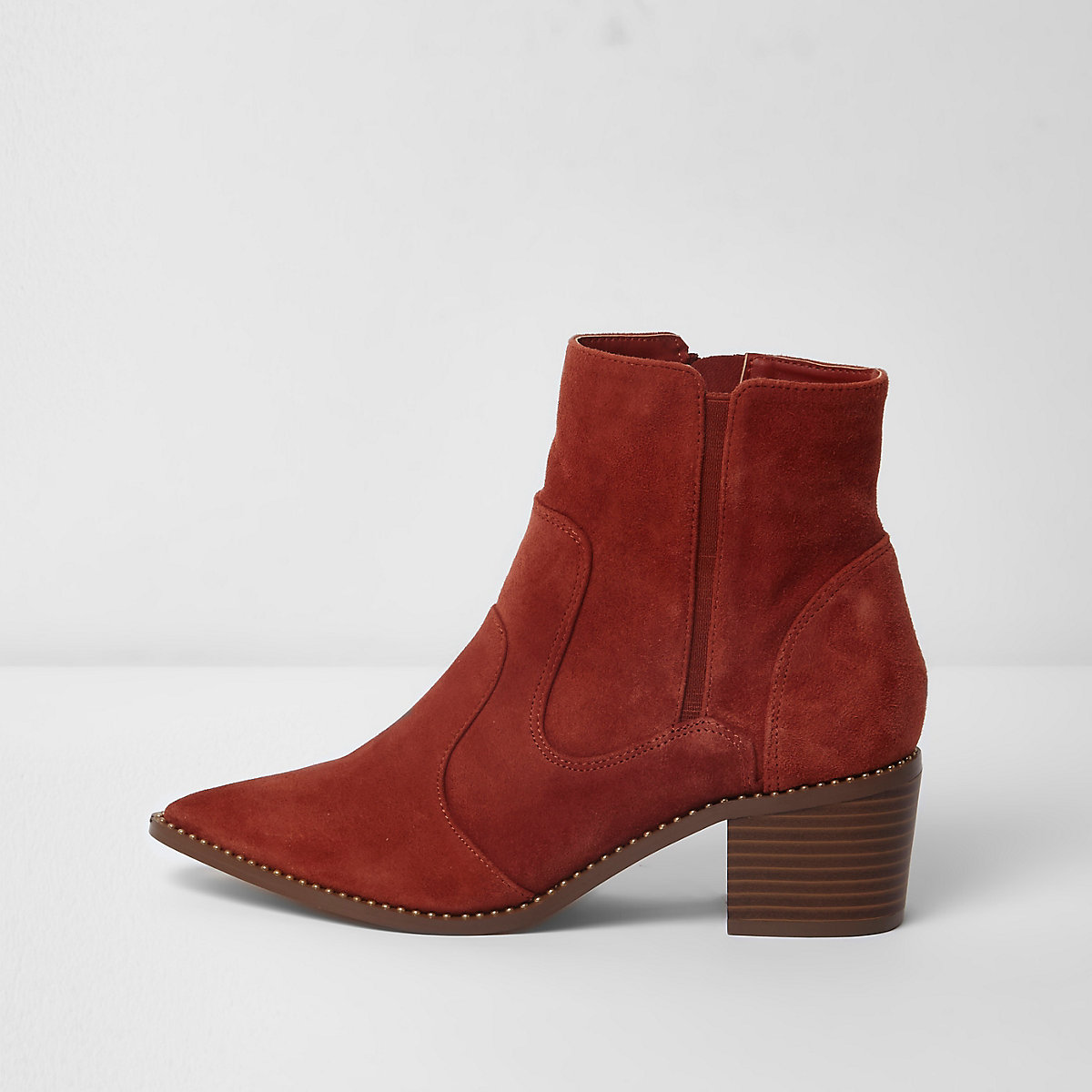Dark orange suede western ankle boots