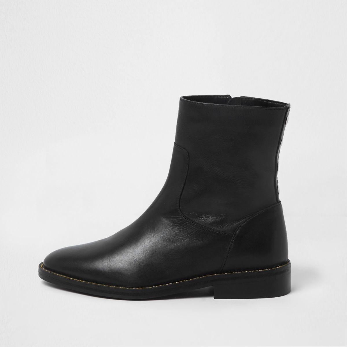 Black leather rhinestone trim ankle boots