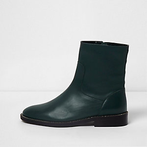 Dark green leather studded ankle boots