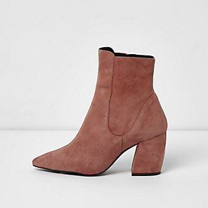 Pink suede curved heel pointed ankle boots