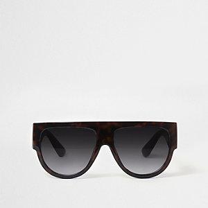 Schwarze Schildpatt-Sonnenbrille mit Klappe