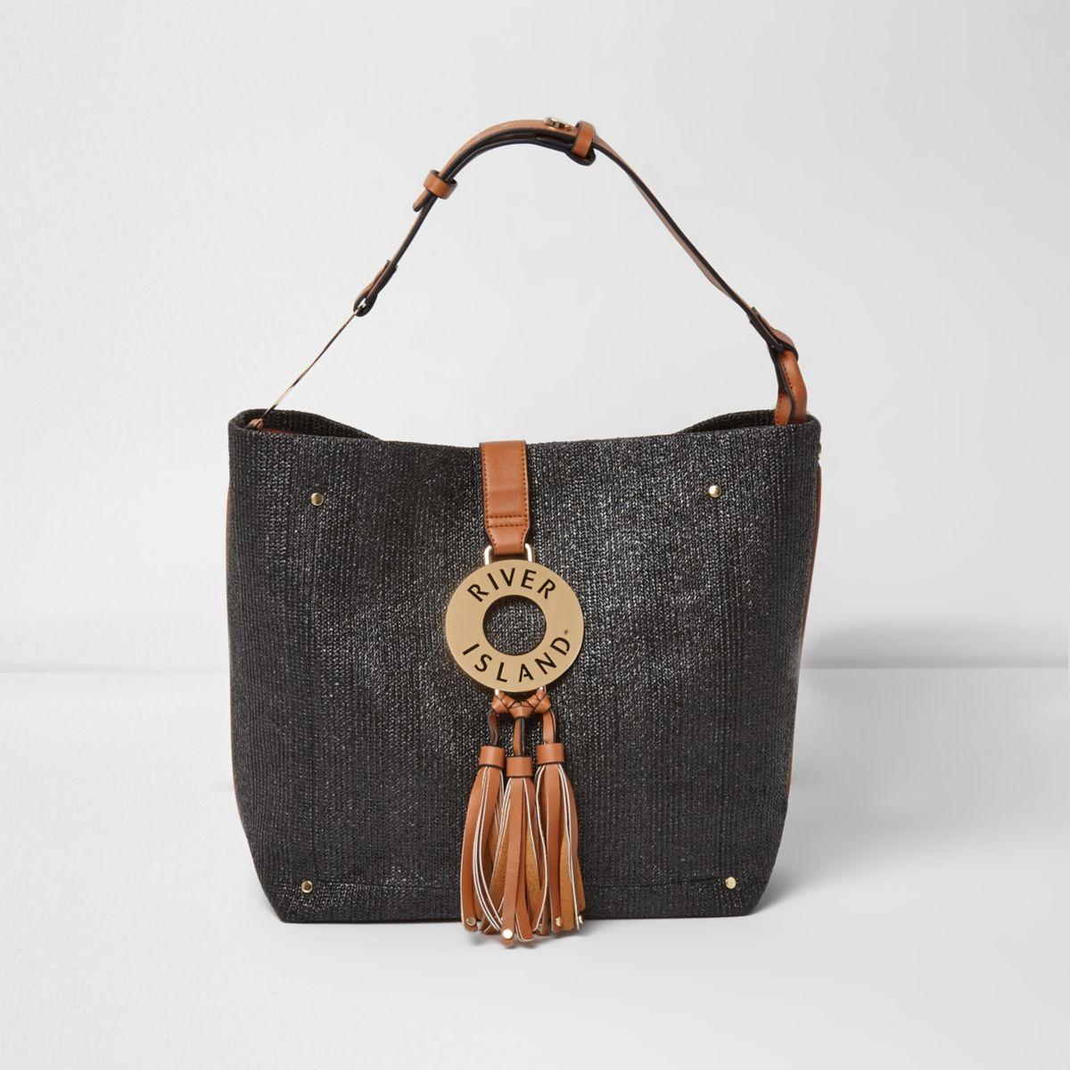 Zwart met bruine oversized geweven handtas met ring