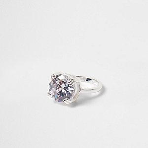 Silver tone round rhinestone crystal ring