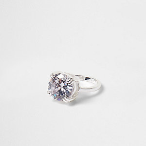 Silver tone round diamante crystal ring