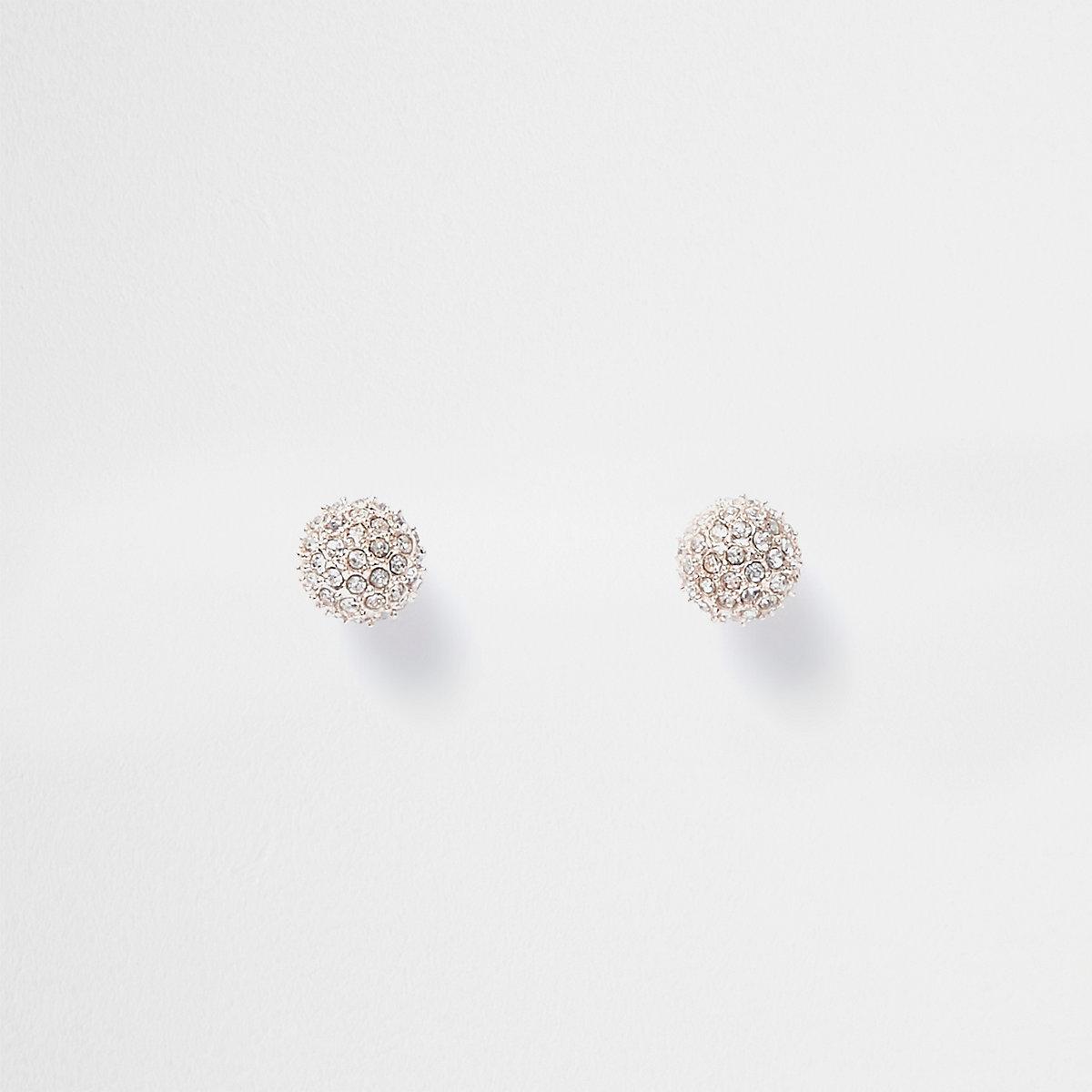 Rose gold tone rhinestone ball stud earrings