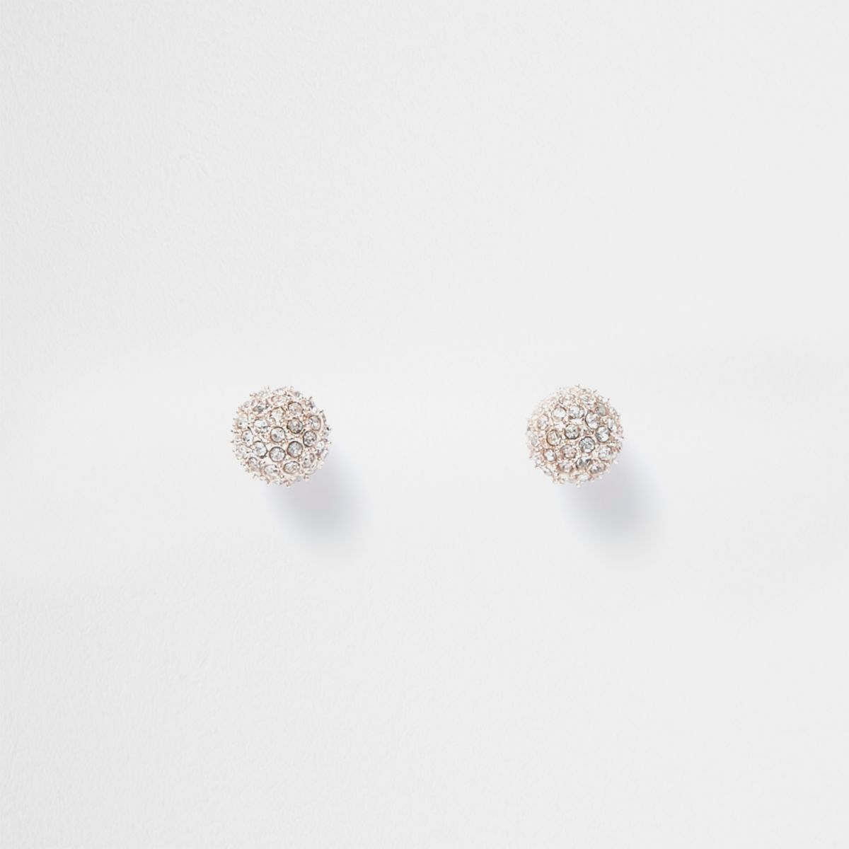 Rose gold tone diamante ball stud earrings