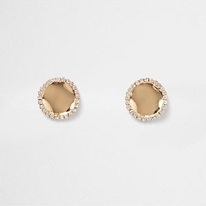 Gold tone wavy rhinestone disk stud earrings