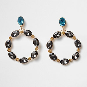 Gold tone and topaz oval gem hoop earrings
