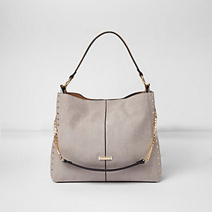 Grey studded chain handle slouch bag