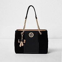 Black charm chain tote bag