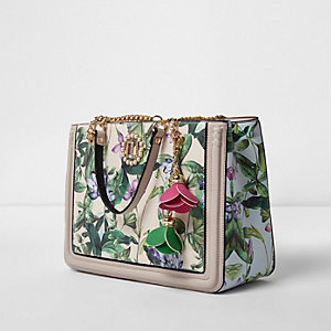 Cream floral leaf print flower charm tote bag