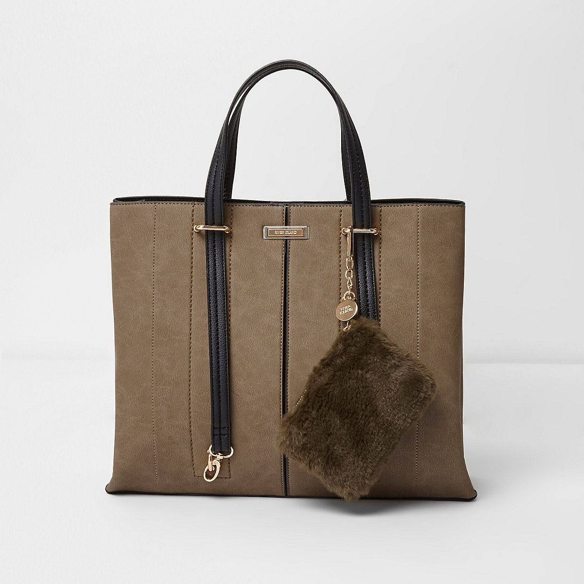 Khaki long handle pouchette tote bag