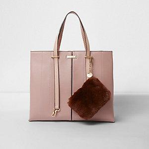 Pink long handle pouchette tote bag
