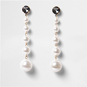 Gold tone faux pearl drop earrings