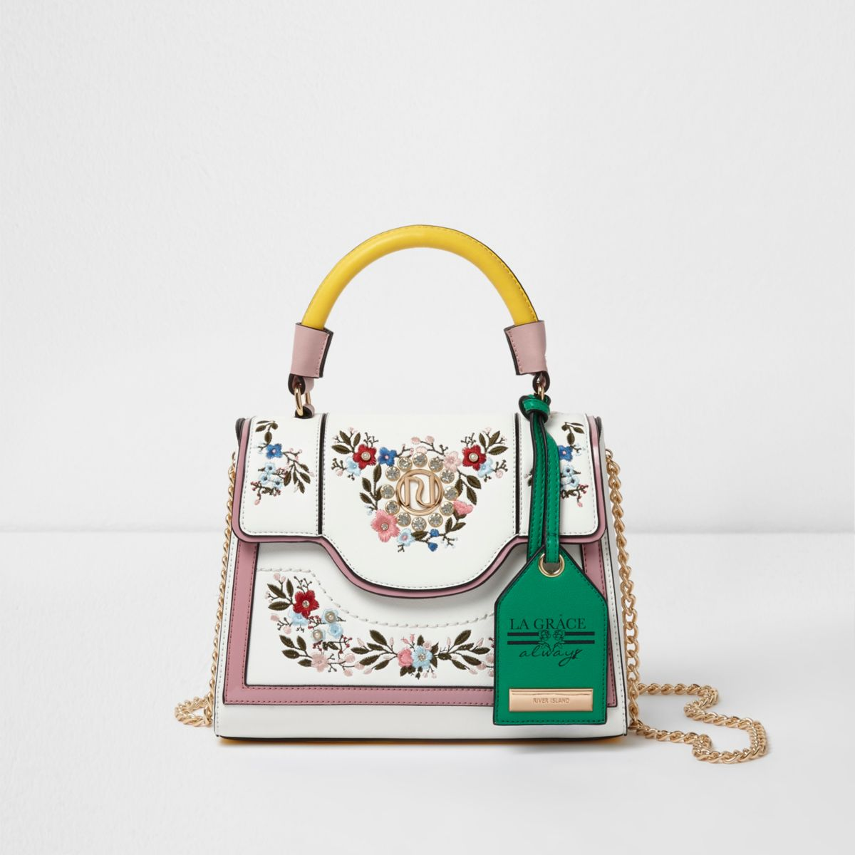 White floral embroidered chain tote bag