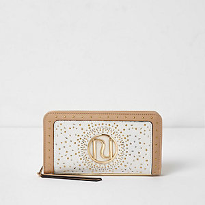 Cream studded laser cut zip around purse