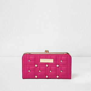 Roze doorgestikte smalle portemonnee met druksluiting en imitatieparels